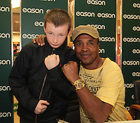 NO FEE PICTURES.16/3/12 William Hayden, age 10 pictured today is Sugar Ray Leonard, one of the greatest fighters of the last fifty years will be in Eason, O.Connell Street signing copies of his new autobiography , .The Big Fight..  Leonard.s book is unflinchingly honest which reveals the true story of an Olympic hero and world champion.  He tells of the gruelling workouts, the fierce competition, and the notorious corruption he encountered within the sport as he battled to become a champion.  Picture:Arthur Carron/Collins