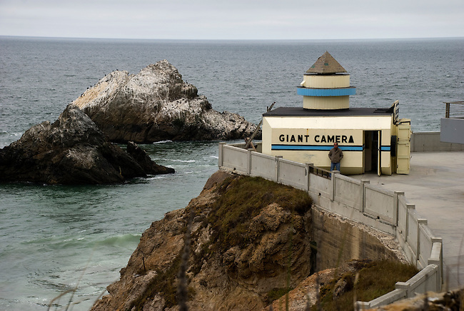 Giant Camera, with its camera obscura, on the gronds of the historic cliff house in San Francisco