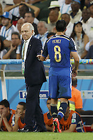 Enzo Perez of Argentina is substituted off by Argentina manager Alejandro Sabella