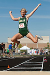 Borah senior Brittany Owens long jumps during the 5A Idaho Track and Field Championships on May 19, 2012 at Rocky Mountain High School, Meridian, Idaho. Owens went 19-05.50 to break her state meet record of 19-01 set on May 21, 2010. Owens ended her high school track and field career as a six time state champion winning the long jump and triple jump titles for the past three years.