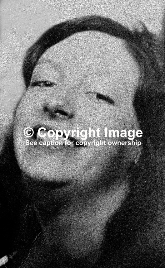 Anne Marie Pettigrew, Westrock Drive, Belfast, N Ireland, who died 1st September 1973, from 80% burns almost two weeks after an explosion in an IRA bomb making factory in the University area of the city. A fellow IRA member, Francis Hall, also died in the incident. 197309010577.<br /> <br /> Copyright Image from Victor Patterson, 54 Dorchester Park, <br /> Belfast, UK, BT9 6RJ<br /> <br /> t1: +44 28 9066 1296 (from Rep of Ireland 048 9066 1296)<br /> t2: +44 28 9002 2446 (from Rep of Ireland 048 9002 2446)<br /> m: +44 7802 353836<br /> <br /> e1: victorpatterson@me.com<br /> e2: victorpatterson@gmail.com<br /> www.victorpatterson.com<br /> <br /> Please see my Terms and Conditions of Use at www.victorpatterson.com. It is IMPORTANT that you familiarise yourself with them.<br /> <br /> Images used on the Internet must be visibly watermarked i.e. &copy; Victor Patterson<br /> within the body of the image and copyright metadata must not be deleted. Images <br /> used on the Internet have a size restriction of 4kbs and will be chargeable at current<br />  NUJ rates unless agreed otherwise.<br /> <br /> This image is only available for the use of the download recipient i.e. television station, newspaper, magazine, book publisher, etc, and must not be passed on to any third <br /> party. It is also downloaded on condition that each and every usage is notified within 7 days to victorpatterson@me.com<br /> <br /> The right of Victor Patterson to be identified as the author is asserted in accordance with The Copyright Designs And Patents Act (1988). All moral rights are asserted.