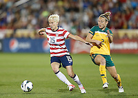 Commerce City, Colorado - Wednesday September 19, 2012; The  US WNT defeated the National team of Australia 2-1 during an International friendly game at Dick's Sporting Goods Park.  Megan Rapinoe (15) of the USWNT drives around Teigen Allen (2) of Australia.