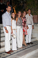 Members of The Spanish Royal Family ( L to R ),  Crown Prince Felipe, Crown Princess Letizia, Infanta Elena, Infanta Cristina, and Inaki Urdangarin,  attend a Cocktail Party at The Poseidonion Hotel, in Spetses, Greece, on the eve of the Wedding of Prince Nikolaos of Greece to Tatiana Blatnik.
