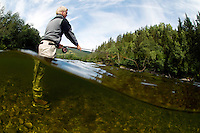 River Orkla, Rennebu, Norway<br /> Flyfishing<br /> Model name: Stefan Enevoldsen-Model release form valid by photographer