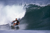 Two Times World Surfing Champion Tom Curren (USA) driving off the bottom during a heat in the 1990 Arena Biarritz Surf Masters at the Grand Plage in Biarritz, France. Photo: joliphotos.com