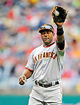 1 May 2011: San Francisco Giants infielder Miguel Tejada warms up prior to a game against the Washington Nationals at Nationals Park in Washington, District of Columbia. The Nationals defeated the Giants 5-2. Mandatory Credit: Ed Wolfstein Photo
