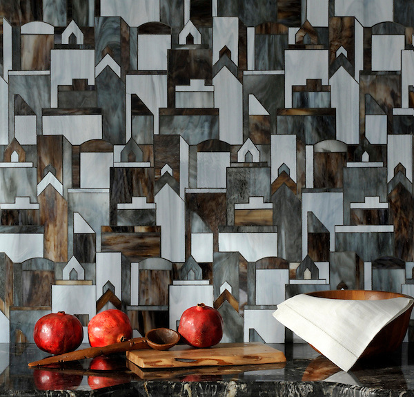 Cityscape, a glass waterjet mosaic shown in Pearl, Lavastone, and Tourmaline, is part of the Erin Adams Collection for New Ravenna Mosaics.<br /> Take the next step: prices, samples and design help, http://www.newravenna.com/showrooms/