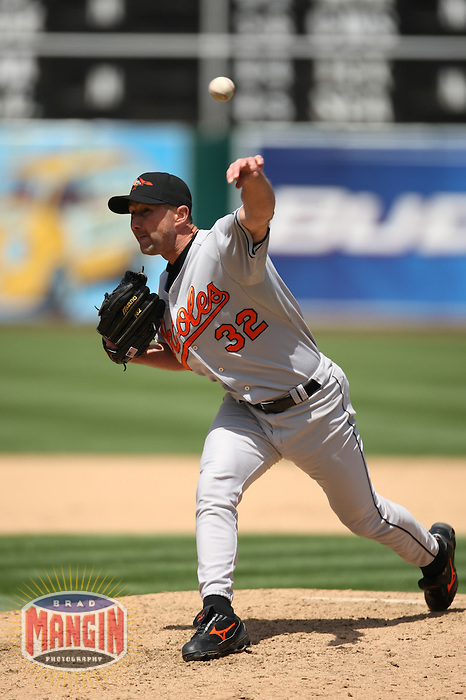 OAKLAND, CA - MAY 7:  Jamie Walker of the Baltimore Orioles pitches during the game against the Oakland Athletics at the McAfee Coliseum in Oakland, California on May 7, 2008.  The Athletics defeated the Orioles 6-5.  Photo by Brad Mangin