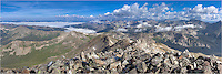 This Colorado landscape image shows the view from one of Colorado's iconic 14,000 feet mountains - a panoramic vista from the summit of Mount Yale. It is a long hike up this majestice mountain. The nearest town is Buena Vista, but the trailhead is still a long way from here.<br /> <br /> On our ascent of this peak, what you can't see is the thin layer of ice that had frosted the rocks. Along with a slippy path, the winds were howling - probably 60-70 mph here. I was worried about my tripod being blown over, so I had to hold the base of the tripod the entire time. While it was an amazing view of the Rocky Mountains, I was ready to descent to lower elevations on this morning.