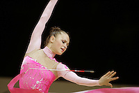 Marina Shpekt of Russia re-catches ribbon during All-Around competition at 2006 Thiais Grand Prix in Paris, France on March 25, 2006.  (Photo by Tom Theobald)