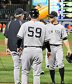 New York Yankees celebrate their 8 - 3 victory in the nightcap of a doubleheader, earning a split in the two games, against the Baltimore Orioles at Oriole Park at Camden Yards in Baltimore, Maryland in the second game of a doubleheader on Sunday, August 28, 2011.  .Credit: Ron Sachs / CNP.(RESTRICTION: NO New York or New Jersey Newspapers or newspapers within a 75 mile radius of New York City)