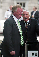 7/6/2006.Fianna Fail TD's Minister for Sport John O' Donoghue and Jim McDaid  at the Dail at Leinster House, Dublin..Photo: Collins