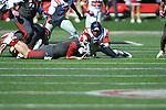 Arkansas quarterback Tyler Wilson (8) recovers a fumble in front of Ole Miss linebacker Denzel Nkemdiche (4) at War Memorial Stadium in Little Rock, Ark. on Saturday, October 27, 2012. Ole Miss won 30-27...