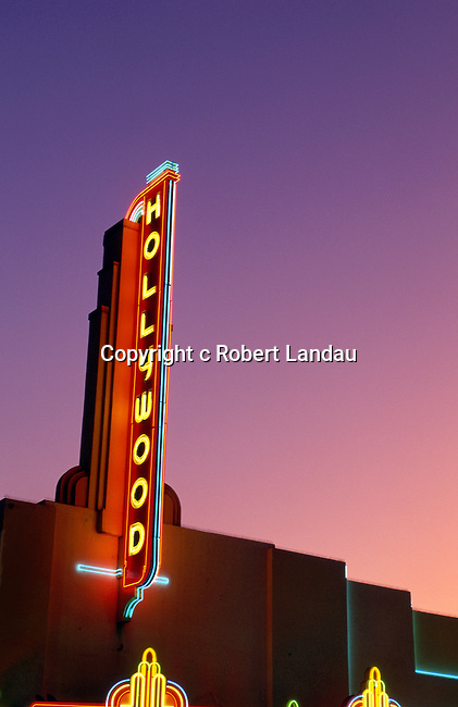 Neon light on Hollywood Theater on Hollywood Blvd.