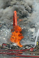 A commercial scrap yard blazes in Portsmouth, England.