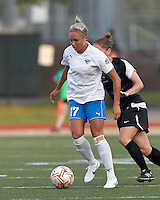 Boston Breakers forward Kyah Simon (17) brings the ball forward. In a Women's Premier Soccer League Elite (WPSL) match, the Boston Breakers defeated New England Mutiny, 4-2, at Dilboy Stadium on June 20, 2012.