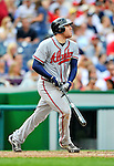 24 September 2011: Atlanta Braves first baseman Freddie Freeman watches a his solo home run clear the fences during game action against the Washington Nationals at Nationals Park in Washington, DC. The Nationals defeated the Braves 4-1 to even up their 3-game series. Mandatory Credit: Ed Wolfstein Photo