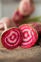 Detail of two red and white beetroots