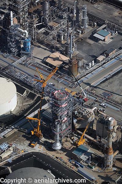aerial oil refinery construction Long Beach Los Angeles, California