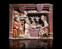 Gothic painted bas-relief of the Nativity by Master of Albesa, Active in Lleida. Polychrome and gilded limestone bas-relief. Second half of 14th century. Dimesions 57 x 69 x 11 cm.Compartment of a sculptural altarpiece devoted to the Virgin. From the crypt of the collegiate church of Sant Pere d'Àger (Noguera). National Museum of Catalan Art, Barcelona, Spain, inv no: 017342-000