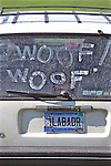 Woof On Car & Labrador License Plate