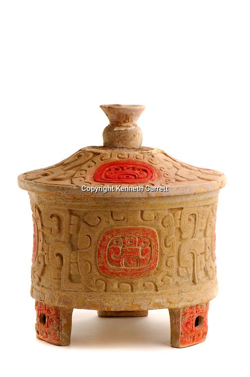 Maya rise and Fall, Copan, Honduras, Hunal Tomb materials, Tomb of Yax Kuk Mo, Astounder Vessel  from Tikal Clays