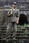 A Vietnamese soldier stands guard outside a flak tower in Hanoi, North Vietnam. (Jim Bryant Photo).....