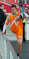 07 May 2011: Houston Dynamo defender Hunter Freeman #21 warms up during an MLS game between the Houston Dynamo and the Toronto FC at BMO Field in Toronto, Ontario..Toronto FC won 2-1.