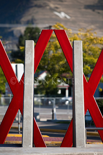 The red x's on the north end of Higgins Avenue in downtown Missoula, Montana