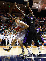 SOUTH BEND, IN - DECEMBER 21: Jack Cooley #45 of the Notre Dame Fighting Irish drives against Devon White #2 of the Niagara Purple Eagles at Purcel Pavilion on December 21, 2012 in South Bend, Indiana. (Photo by Michael Hickey/Getty Images) *** Local Caption *** Jack Cooley; Devon White