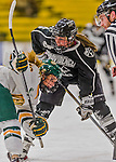 1 February 2015: Providence College Friar Forward Brittney Thunstrom, a Junior from Coon Rapids, MN, takes a face-off in the first period against the University of Vermont Catamounts at Gutterson Fieldhouse in Burlington, Vermont. The Friars fell to the Lady Cats 7-3 in Hockey East play. Mandatory Credit: Ed Wolfstein Photo *** RAW (NEF) Image File Available ***