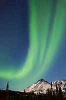 Aurora borealis over the Brooks mountain range, south of Coldfoot, Alaska.