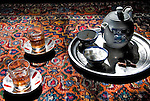 Tea set on a carpet, Iran