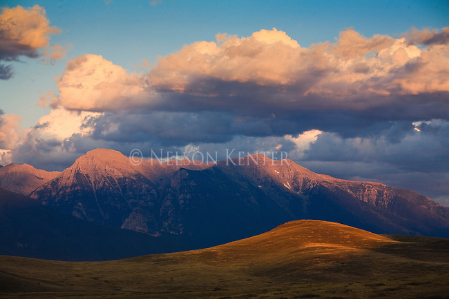 Montana's Mission Mountains and clouds at sunset