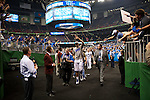 02 APR 2012:  Anthony Davis of the University of Kentucky exits the arena during the 2012 NCAA Men's Division I Basketball Championship Final Four held at the Mercedes-Benz Superdome hosted by Tulane University in New Orleans, LA.  The University of Kentucky beat the University of Kansas 67-59. Joshua Duplechian/ NCAA Photos