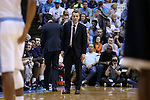 18 February 2017: Virginia head coach Tony Bennett. The University of North Carolina Tar Heels hosted the University of Virginia Cavaliers at the Dean E. Smith Center in Chapel Hill, North Carolina in a 2016-17 Division I Men's Basketball game. UNC won the game 65-41.