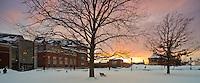 Winter sunset over the Davis Center. Winter UVM Campus