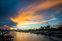Sunset at Ala Wai Harbor, looking towards the yacht club, Honolulu, O'ahu.