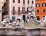 The Fountain of Neptune, at the north end of the Piazza Navona in Rome, Italy.