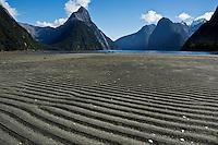 Low tide, Milford Sound, Fiordland national park, New Zealand