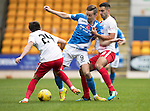 St Johnstone v Kilmarnock&hellip;15.10.16.. McDiarmid Park   SPFL<br />Steven MacLean battles with Greg Taylor and Jordan Dicker<br />Picture by Graeme Hart.<br />Copyright Perthshire Picture Agency<br />Tel: 01738 623350  Mobile: 07990 594431