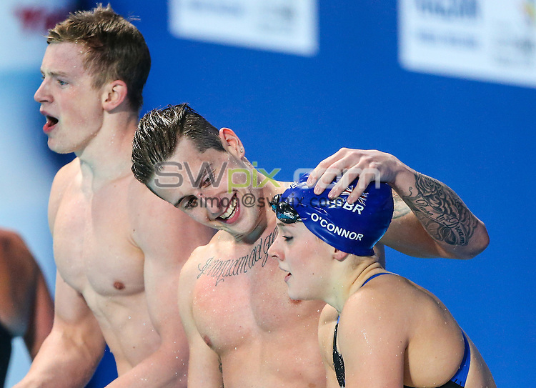 Picture by Alex Whitehead/SWpix.com - 05/08/2015 - Swimming - 16th FINA World Swimming Championships 2015 - Kazan Arena Stadium, Kazan, Russia - Great Britain's Mixed 4x100m Medley Relay team win Gold in the final, (l-r): Adam Peaty, Chris Walker-Hebborn and Siobhan-Marie O'Connor, (Francesca Halsall not pictured).