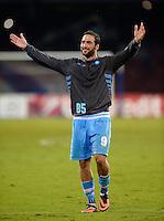 FUSSBALL   CHAMPIONS LEAGUE   SAISON 2013/2014   Vorrunde SSC Neapel - Borussia Dortmund      18.09.2013 JUBEL SSC Neapel; Gonzalo Higuain nach dem Spiel