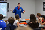 08/13/2012 - Medford/Somerville, Mass. - Astronaut Mike Foreman speaks to CEEO summer campers about his experience applying for the astronaut program and working for NASA on Aug. 13, 2012. (Kelvin Ma/Tufts University)