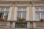 An elephant below a window in Krakow, Poland. A panel below a window with an elephant in it, in Krakow, Poland