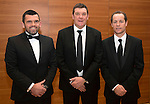 St Johnstone FC Scottish Cup Celebration Dinner at Perth Concert Hall...01.02.15<br /> The management team, from left Callum Davidson Assistant Manager, Tommy Wright Manager and Alex Cleland 1st Team Coach.<br /> Picture by Graeme Hart.<br /> Copyright Perthshire Picture Agency<br /> Tel: 01738 623350  Mobile: 07990 594431
