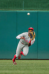 11 September 2016: Philadelphia Phillies outfielder and Baseball America top prospect Roman Quinn comes up with a diving catch for his first career major league out in the 1st inning against the Washington Nationals at Nationals Park in Washington, DC. The Nationals edged out the Phillies 3-2 to take the rubber match of their 3-game series. Mandatory Credit: Ed Wolfstein Photo *** RAW (NEF) Image File Available ***