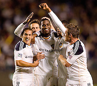 LA Galaxy forward Edson Buddle (14-c) celebrates his second goal of the night with teammates. The LA Galaxy defeated Real Salt Lake 2-1 at Home Depot Center stadium in Carson, California on Saturday April 17, 2010.  .