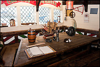BNPS.co.uk (01202 558833)<br /> Pic: PhilYeomans/BNPS<br /> <br /> Captains cabin.<br /> <br /> Yours for &pound;360k - Full size replica of Sir Francis Drake's legendary ship the Golden Hind.<br /> <br /> Sir Francis Drake's famed Elizabethan galleon, in which he circumnavigated the globe, is a floating museum in Brixham harbour in Devon.<br /> <br /> The 120ft wooden ship is an exact remake of the flagship which Drake sailed round the world from 1577 to 1580, the first Englishman ever to circumnavigate the globe.<br /> <br /> The boat, which was built in 1988, is the second of two replica Golden Hinds which have taken pride of place in Brixham, Devon, since the 1954.<br /> <br /> The current owner, Simon Read, inherited the boat from his father John who bought the original replica in 1970 and ran it until 1988 when it was replaced by a new version.<br /> <br /> Above decks it boasts two square-rigged masts each with iconic 'crow's nests', and six canons.