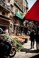 Fresh fruit and vegetable stalls at 'Il Capo' markets in the historic quarter of 'Capo', Palermo, Sicily, Italy